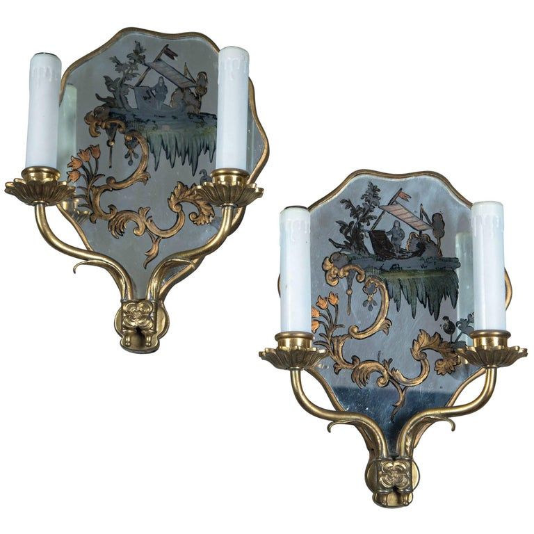 Pair of circa 1920 Caldwell Hand-Painted Mirrored Sconces