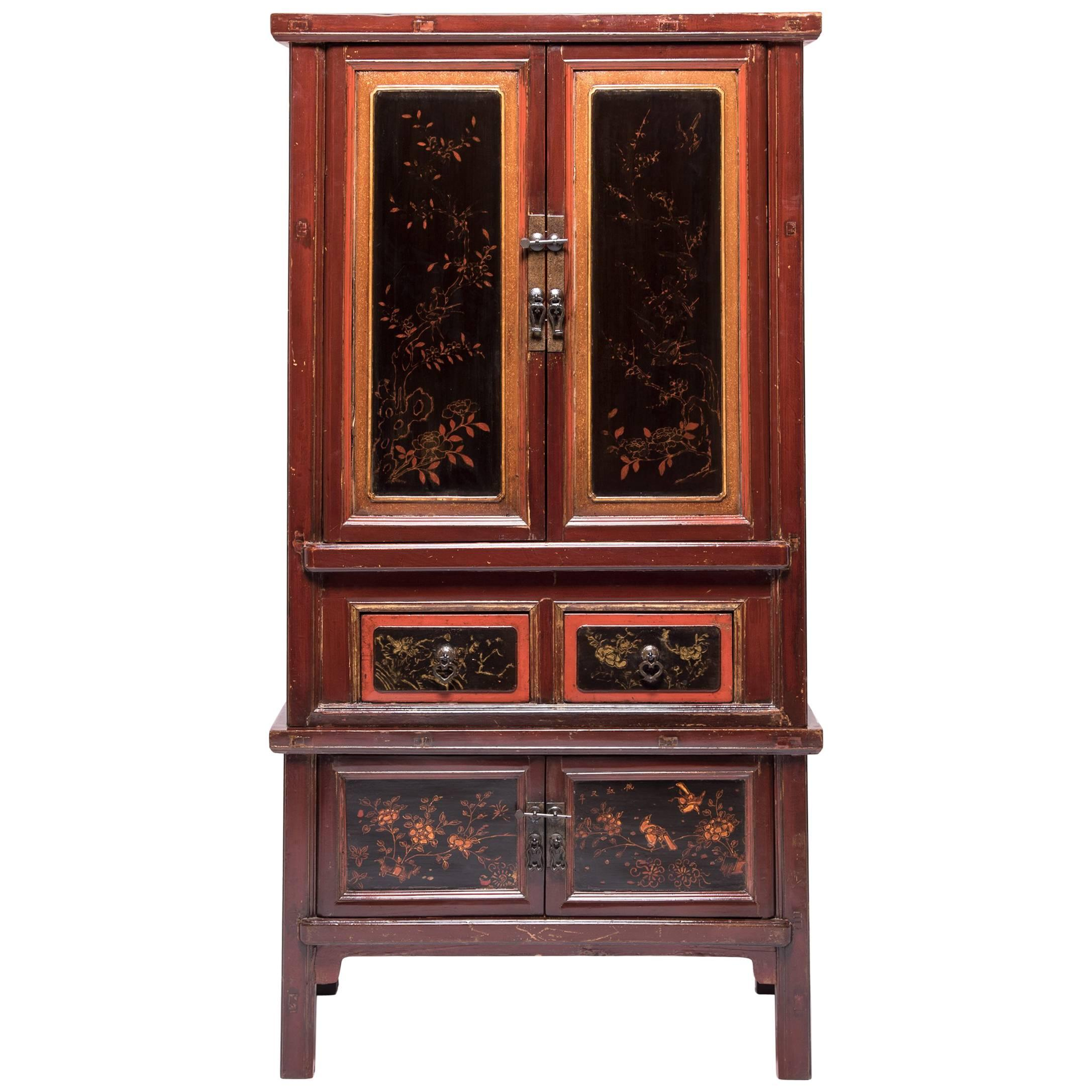 Chinese Gilt Red Lacquer Cabinet, c. 1900