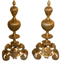Enormous and Heavy Pair of French Brass Andirons, Fire Dogs or Chenets