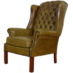 English Tufted Leather Upholstered Wingchair, Mid-20th Century