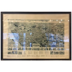 Rare Hudson New York Aerial Map, 1923