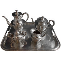 Heather Mexican Mexico Sterling Silver Tea Set 4pc with Tray #1795 Hollowware
