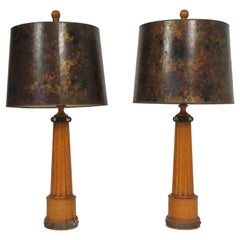 Pair of 1940s French Wood Column Table Lamps