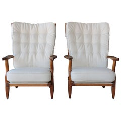 Pair of Guillerme et Chambron 'Grand Repos' Armchairs, 1960s, France