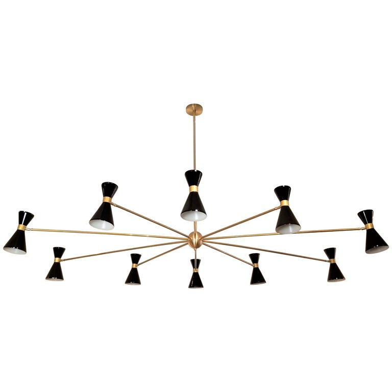 Massive Oval Brass & Enamel Italian Campana Chandelier, Blueprint Lighting