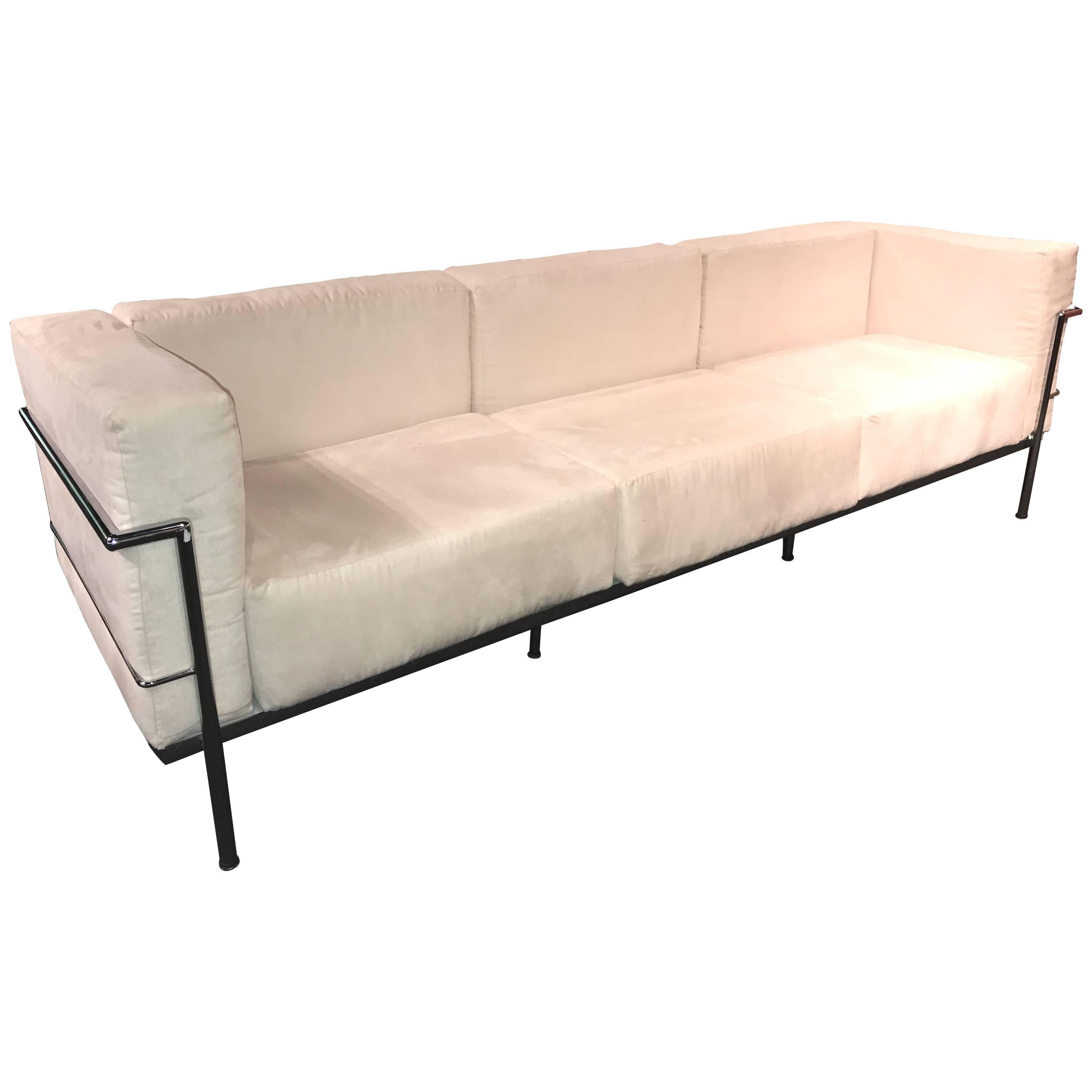 Le Corbusier LC3 Style Modern Triple Seat Sofa In Suede And Chrome For Sale
