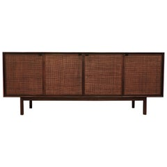 Florence Knoll Mid-Century Modern Walnut and Cane Credenza
