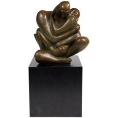 """The ""Kiss"" Patinated Bronze Sculpture by Augusto Escobedo"