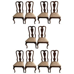Stunning Set of Ten Drexel Heritage Queen Anne Style Dining Chairs