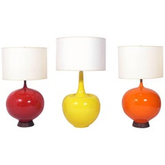Selection of Colorful Large Scale Ceramic Lamps