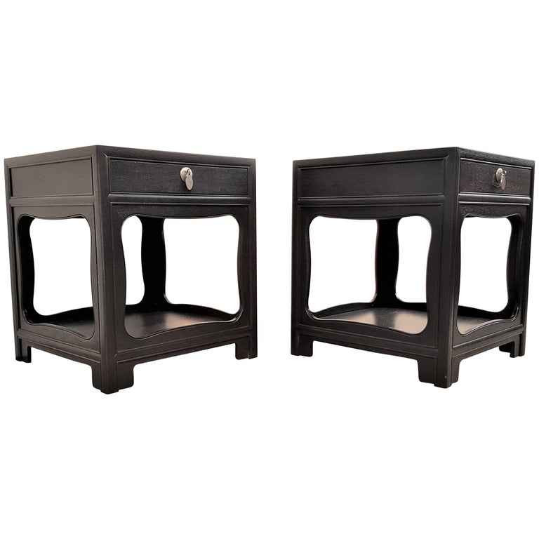 Michael Taylor for Baker Far East Nightstands Restored in Rich Charcoal Finish