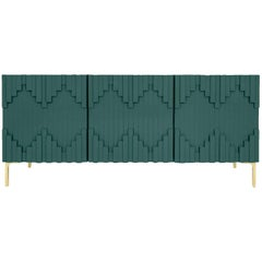 Art Deco Hunter Green Three-Door Credenza with Geometric Detail & Brass Legs