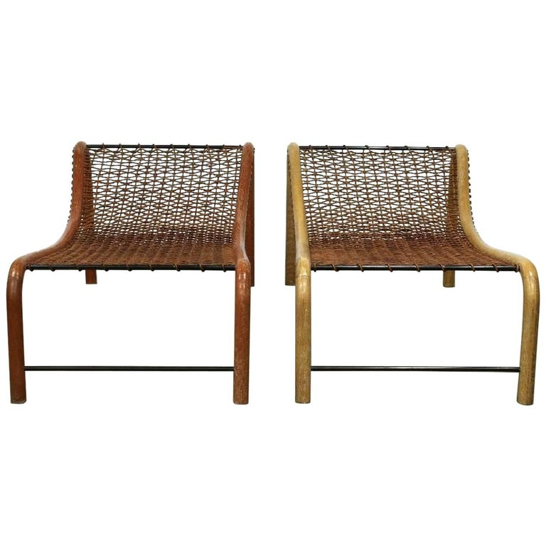 Two Oversized Bentwood Chaise Lounge Chairs Woven by William Emmerson