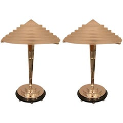 Pair of French Art Deco Table Lamps Signed by G Leleu