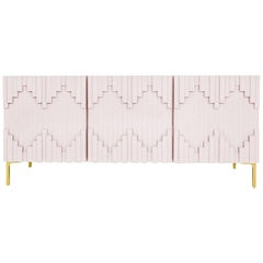 Art Deco Style Blush Pink Three-Door Credenza with Geometric Detail & Brass Legs