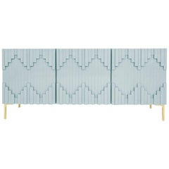 Art Deco Style Capri Blue Three-Door Credenza with Geometric Detail & Brass Legs