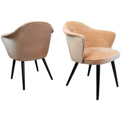 Pair of Fully Restored Highly Sculptural Italian Modern Chairs in Blush Velvet