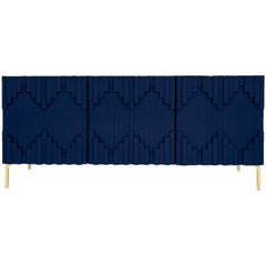 Art Deco Modern Navy Three-Door Credenza with Geometric Detail and Brass Legs