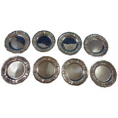 Aztec Rose Maciel / Sanborns Sterling Silver Dessert Plates Set Hollowware 8 Pcs