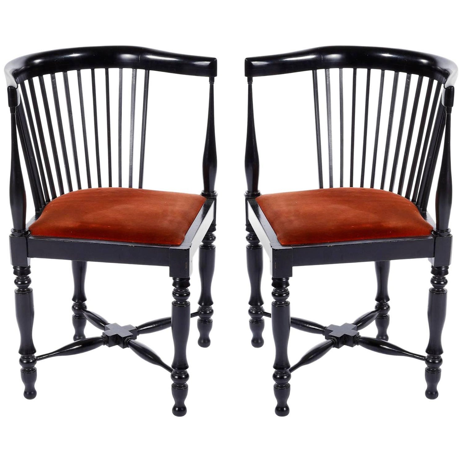 Adolf loos corner chairs f o schmidt velvet wood jugendstil 1898 1900 pair for sale at 1stdibs