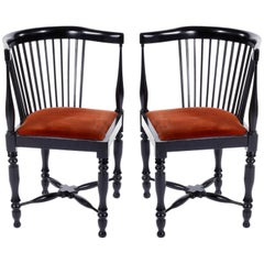 Adolf Loos Corner Chairs, F.O. Schmidt, Velvet Wood, Jugendstil, 1898-1900, Pair