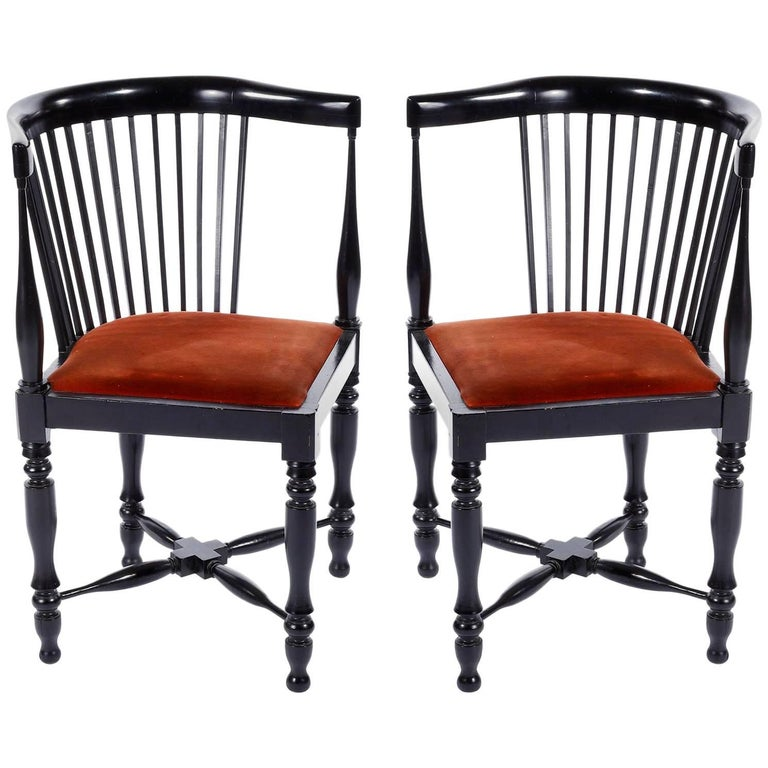 Adolf Loos Corner Chairs, F.O. Schmidt, Velvet Wood, Jugendstil, 1898-1900, Pair For Sale