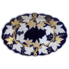 Early 20th Century Meissen Porcelain Oval Dish Cobalt and Gilt
