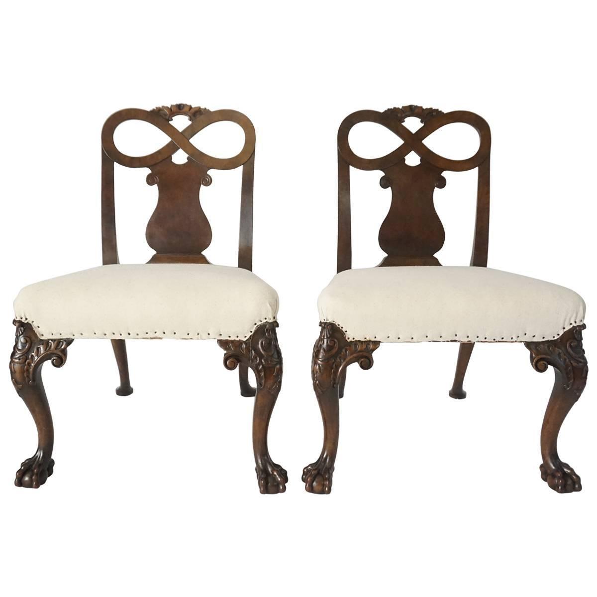 George II Style Carved Walnut Side Chairs, England, circa 1880