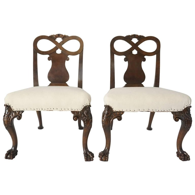 Pair of George II Style Carved Walnut Side Chairs, England, circa 1880