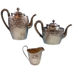 Hyperion by Whiting Sterling Silver Tea Set Three-Piece #2412C Hollowware