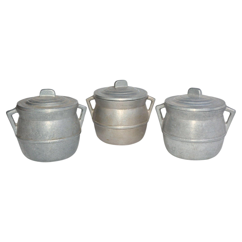 Three Vintage Pewter Pot de Crèmes