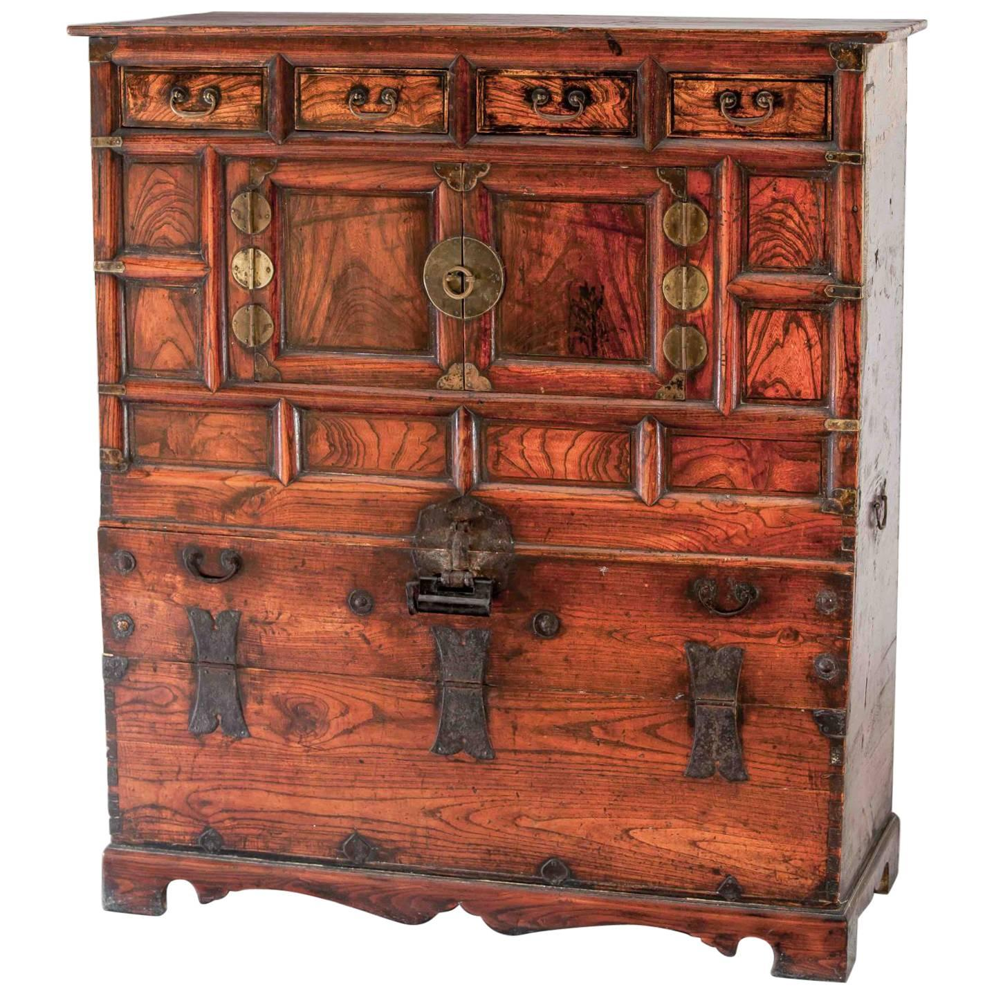 Blanket Cedar Chest Clothing Storage Armoire Cabinet Korea Yi Dynasty For  Sale