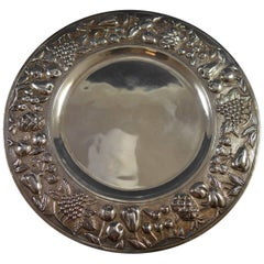 Maciel Mexican Mexico Sterling Silver Fruit Platter #1044-1 Repoussed Hollowware