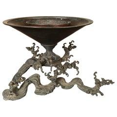 "Japan ""Wave Pattern"" Antique Caste Bronze Ikebana Vase, 19th Century"