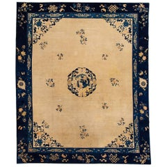 Oversize Antique Beige and Blue Chinese Peking Carpet