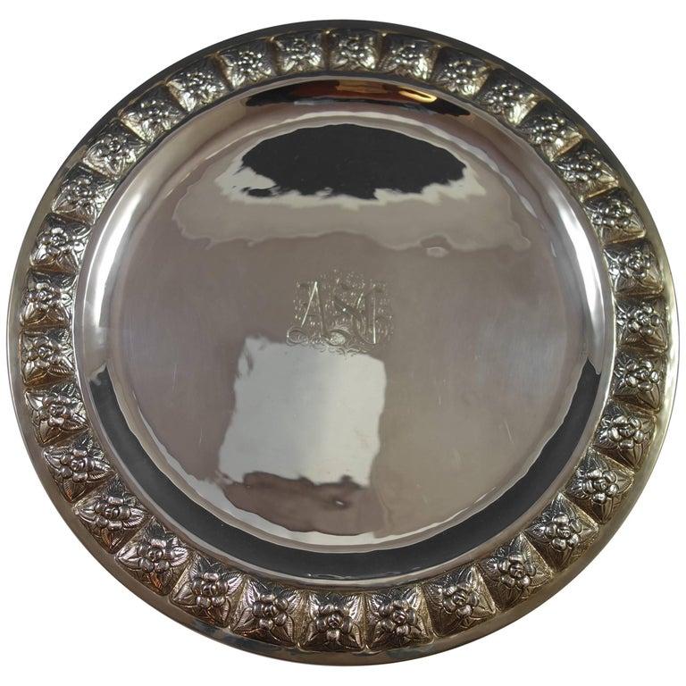 Desert Rose by Sanborns Mexican Sterling Silver Serving Platter Round Hollowware