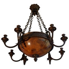 Early 20th Century Bronze and Alabaster Four-Light Chandelier with Candelabras