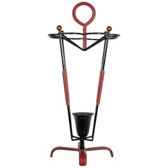 Umbrella Stand in Stitched Leather by Jacques Adnet