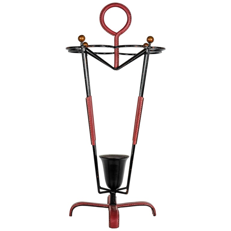 Umbrella Stand in Stitched Leather by Jacques Adnet For Sale