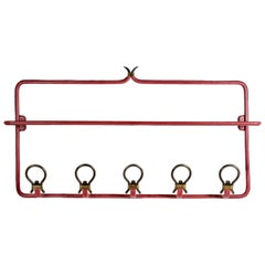 Nice Wall Coat Rack in Stitched Leather by Jacques Adnet