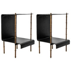 Pair of Side bed tables by Jacques Adnet