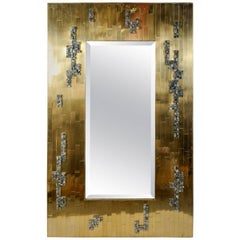 Brass and Pyrite Brutalist Mirror by Georges Mathias