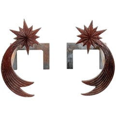 Pair of Bronze Andirons by Enzo Missoni