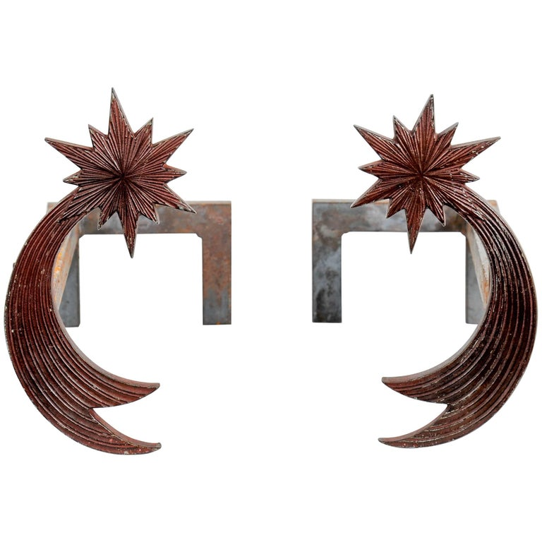 Pair of Bronze Andirons by Enzo Missoni For Sale