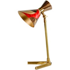One of a Kind Contemporary Lamp with Straw Marquetry Shade