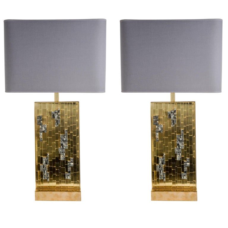 Pair of Pyrites Stones Lamps by Georges Mathias