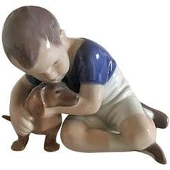 Bing & Grondahl Figurine Boy with Dachshund #1951