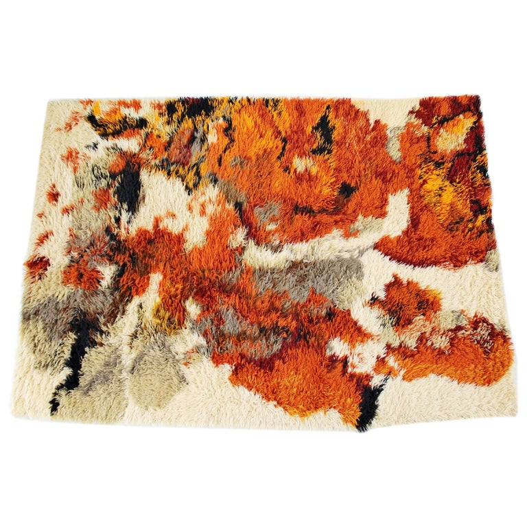 Mid-Century Modern Orange Red Gray Shag Rya Area Rug Carpet, 1970s