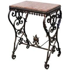 Oscar Bach Style Marble-Top Table
