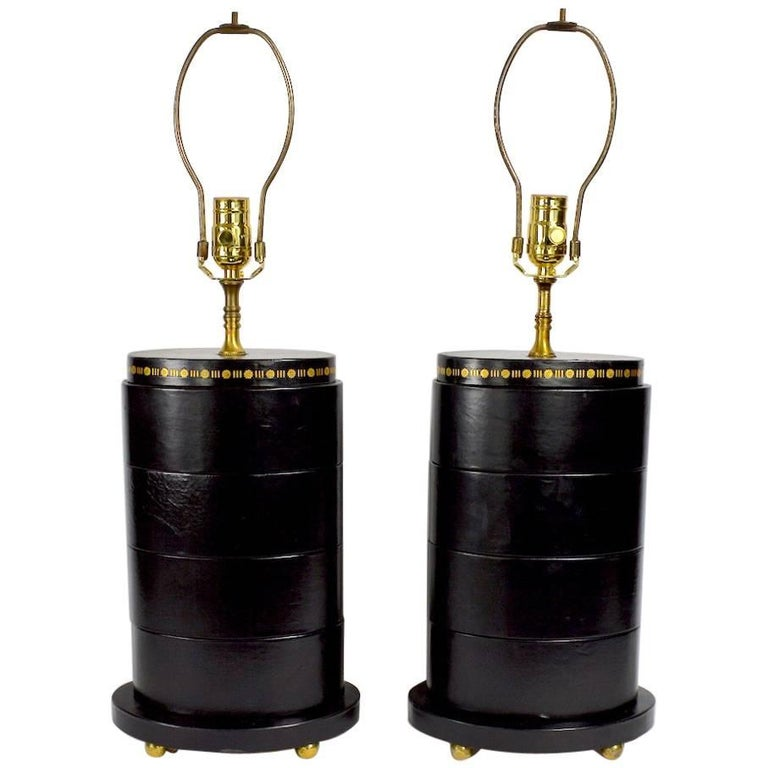 Pair of Leather Wrap Oval Table Lamps